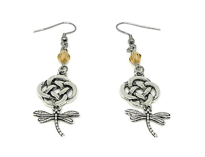 Celtic Drop Earrings with Eternity Knot & Dragonfly