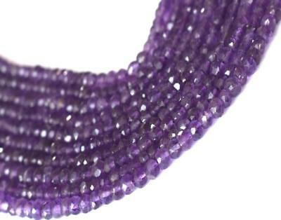 """12.5"""" Strand - Amethyst Beads - Faceted Rondelle - 3.5 - 4 Mm - Gemstone #t001"""