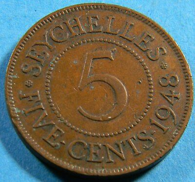 Seychelles 1948 5 cents  coin (0670)  KM# 7  Low Mintage 300,000