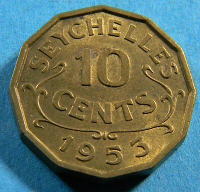 Seychelles 1953 10 cents  coin (0673)  KM# 10  Low Mintage 130,000