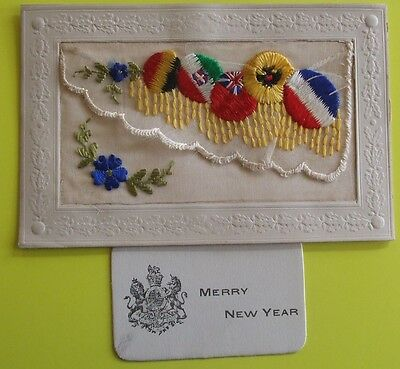 WORLD WAR 1 SILK Postcard 1914-1918 COLOURS of ALLIES ENVELOPE TYPE WITH INSERT