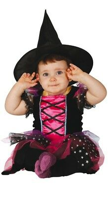 Baby Girls Pink Witch Halloween Fancy Dress Costume Outfit 6-12 & 12-24 months