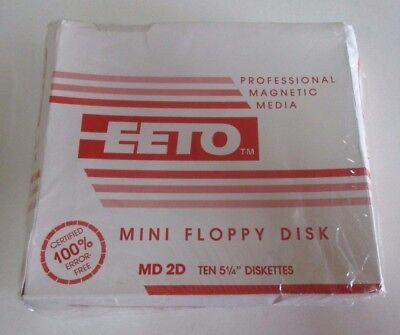 EETO MD 2D 5.25 Inch Floppy Disks - Pack of 10 - New in Sealed Pack