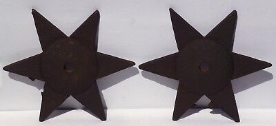 TWO cast iron architectural star tie-ins. Very Unusual six pointed stars.