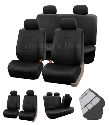 Black Leather Look Car Seat Covers Cover Set For Nissan Qashqai 2007 - 2013