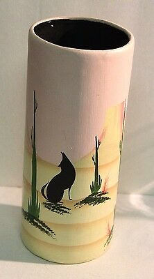 "Pottery Vase Hand Painted Dessert Scene by Michel Made In Mexico 9.25"" tall x 4"""