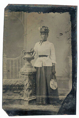 Black African American Woman With Tiny Waist Holds Fan Tintype