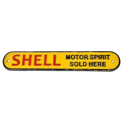 Yellow Shell Motor Oil Cast Iron Sign Plaque Door Wall House Fence Gate Post