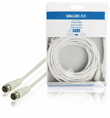 Valueline Antenna Cable F-Male Quick - F-Male Quick 10m White