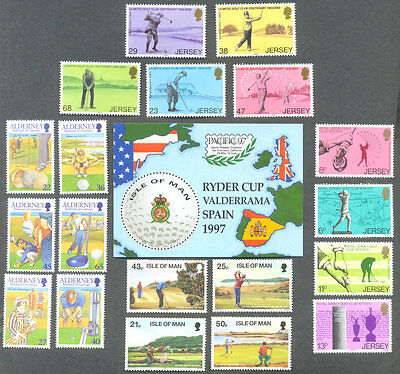 Golf-Golfing Channel islands & Isle of Man collection mnh