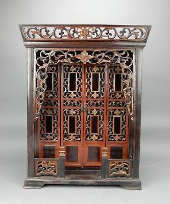 Chinese Hand Made Intricately Carved Shrine Gilt and Lacquer Finish.  26 inches