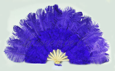 """violet marabou  ostrich feather fan burlesque dance with gift box 21""""x 39"""""""