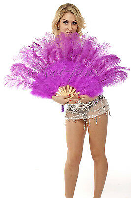 """21""""x 39"""" Lavender marabou & ostrich feather fan with gift box"""