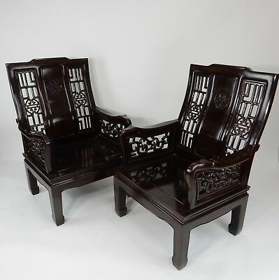 """Gorgeous Pair of  Chinese  Intricately Carved Rosewood Arm Chairs 39.5"""""""