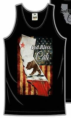 God Bless Cali Patriotic Mens Tank Top T-Shirt Printed On Pro Club Tee