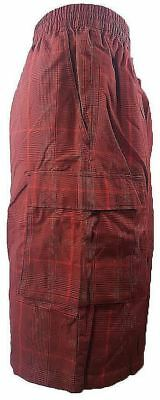 YAGO Mens Plaid Cargo Checker Shorts SM-6X Burgandy Black CD-7