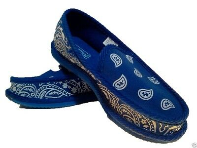 Royal Blue Bandana House Shoes Slippers Trooper Brand New Size 8 9 10 11 12 13