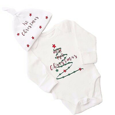 My 1st Christmas Baby Body Suit & Hat Outfit