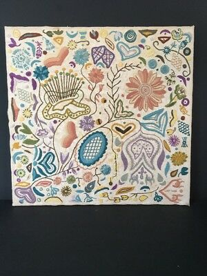 Finished Embroidery - Hand Stitched Needlework Over Board In Abstract Design