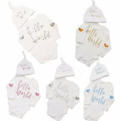 Baby Vest Hello World Bodysuit & Hat Outfit Baby Shower New Baby