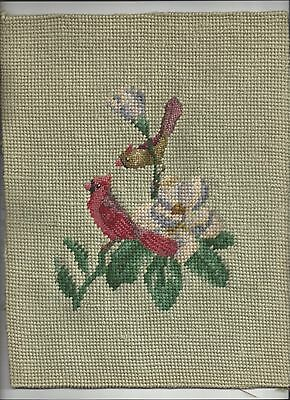 Vintage Embroidered Cardinals on Flowering Tree Limb Picture on Green Background