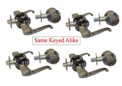 Multiple Sets of Entry Door Lockset Antique Brass All Keyed Alike (1/2/3/4 sets)