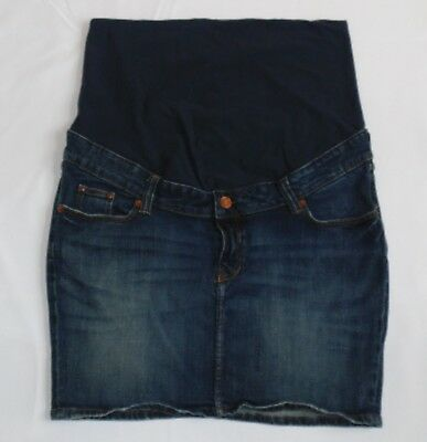 H&M Mama Womens Size 14 (May Run Small) Maternity Jean Skirt Fitted Blue Panel