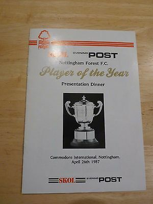 BUY IT NOW...NOTTINGHAM FOREST1987 PLAYER of the YEAR DINNER MENU.  FREE POSTAGE