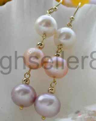 10MM white pink ROUND FRESHWATER PEARL DANGLE EARRING