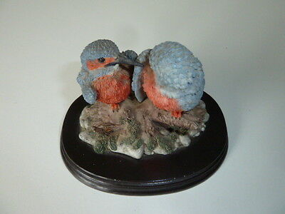 "4"" TALL KINGFISHERS by REGENCY  FINE  ARTS,RESIN  ON WOODEN BASE"
