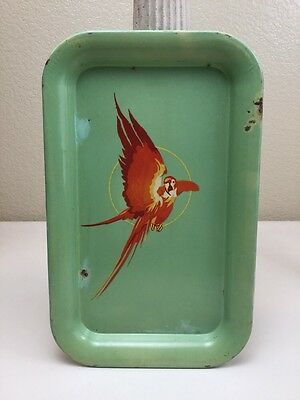 "Vintage 1950s Parrot Metal Serving Tray 14"" X 9"" Green Mid Century Modern"