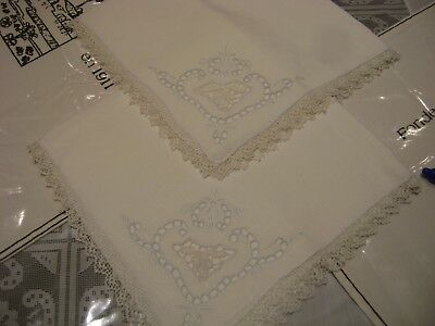 VICTORIAN ANTIQUE-CUT OUTWORK-HAND EMBROIDERY-SET 2 VINTAGE-Luncheon-NAPKINS