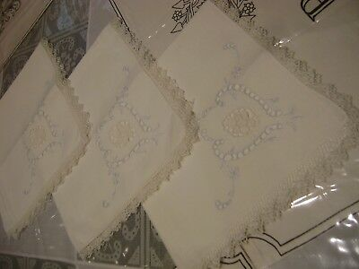 VICTORIAN ANTIQUE-CUT OUTWORK-HAND EMBROIDERY-3 +1 VINTAGE-Luncheon-NAPKINS