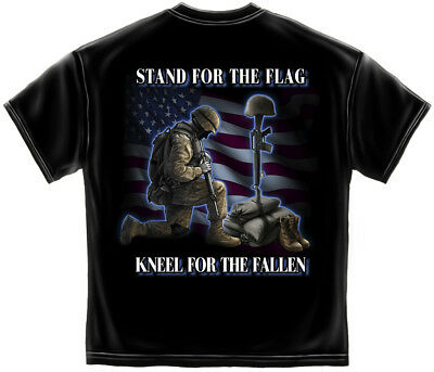 American Military Patriotic T Shirt Stand For The Flag Kneel For The Fallen S-3X