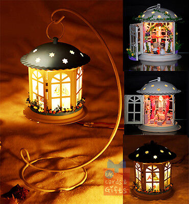 Lantern dolls house miniature DIY Kit Handcraft Project Light,hanging stand&more
