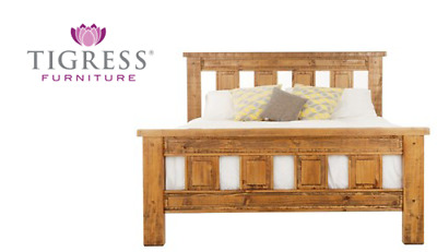 """Woolstore"" Distressed Oak Finish Solid Pine Queen Bed"