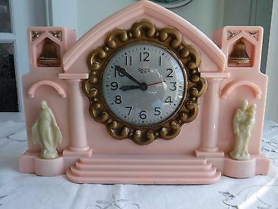 Vintage Clock  With Religious Theme, Art Deco Style