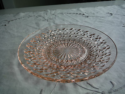 """Jeannette Glass Bottoms & Bows Holiday Pink Dessert Plate, 5 3/4 """""""