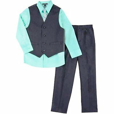 GEORGE Boy's 4-14 VEST SET Shirt Tie Vest & Pants PINSTRIPE/AquaVerde 4 Pc ~ New