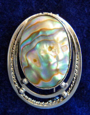 Abalone silver tone oval brooch pin jewelry