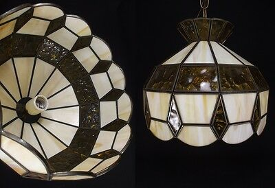 Vintage MEDIUM Slag Glass Hanging Lamp Brown chain light ceiling antique amber