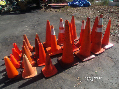 """Lot of  23 Orange Safety Cones Various Sizes 12"""" to 36"""""""