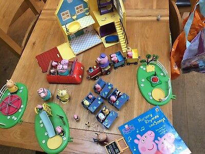 Peppa Pig- House, school, playground and car set with lots of figures.
