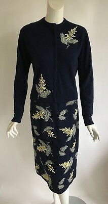 vtg 50s Nanette Cashmere's hand embroidered Cashmere pin up skirt sweater set