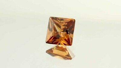 Lab Created Square Champagne Diamond 6mm Fast & Free Delivery AAAAA