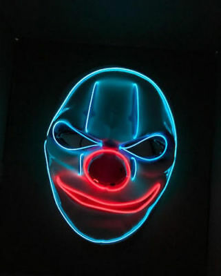 Clown LED Light Up Mask Halloween Costume Joker Payday Purge Fancy Dress Cosplay