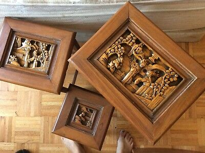 Asian carved wood nesting tables