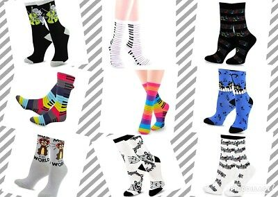 TeeHee Music Cotton Crew Socks for Women and Men 3-Pack