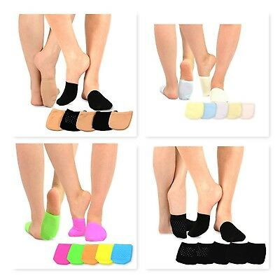 TeeHee Women's Seamless Toe Topper Liner Socks 5-Pack with Non-Skid Bottom
