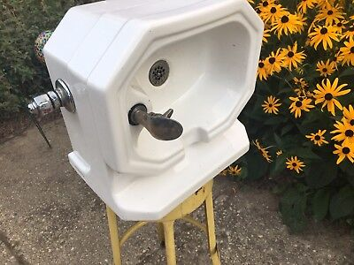 Vintage Old School Small Rheem Drinking Water Fountain Faucet Porcelain Sink